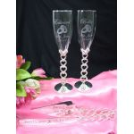 Five Heart Toasting Flutes & Cake Knife Set