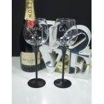 Black Stem Diamonte Band Wine Pair