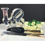 Gold Diamante Wave Cake Knife Set