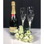 Silver Double Heart Toasting Flutes
