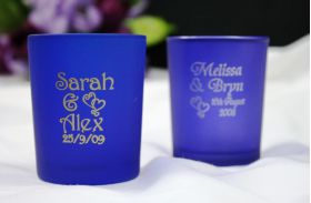 Dark Blue Frosted Tealight Holders - printed