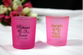 Fuschia Frosted Tealight Holder -printed