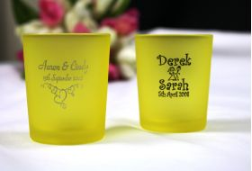 Yellow Frosted Tealight Holder - printed