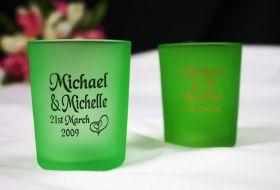 Apple Green Frosted Tealight Holders - printed