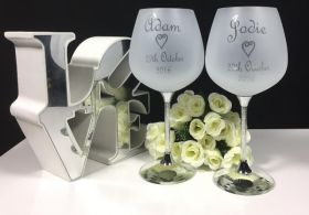 Crystal Stem Wine Pairs Fully Etched