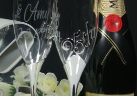 Close up of 25th Anniversary Toasting Flutes