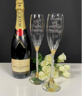 Gold Crystal StemToasting Flutes with crystal base