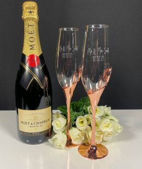 Rose Gold Double Heart Flutes