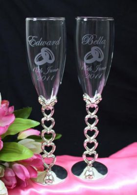 Hearts & Bow Flute Pair
